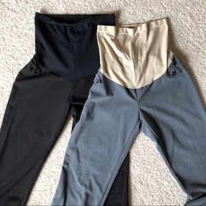 Pants - Two Maternity Work Pants, Black and Gray